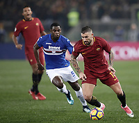 Calcio, Serie A: AS Roma - Sampdoria, Roma, stadio Olimpico, 28 gennaio 2018. <br /> Roma's Aleksandar Kolarov (r) in action with Sampdoria's Duv&agrave;n Zapata (l) during the Italian Serie A football match between AS Roma and Sampdoria at Rome's Olympic stadium, January 28, 2018.<br /> UPDATE IMAGES PRESS/Isabella Bonotto