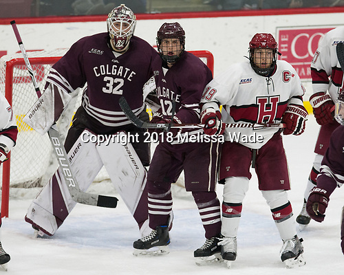 Colton Point (Colgate - 32), Adam Dauda (Colgate - 12), Jake Horton (Harvard - 19) - The visiting Colgate University Raiders shut out the Harvard University Crimson for a 2-0 win on Saturday, January 27, 2018, at Bright-Landry Hockey Center in Boston, Massachusetts.The visiting Colgate University Raiders shut out the Harvard University Crimson for a 2-0 win on Saturday, January 27, 2018, at Bright-Landry Hockey Center in Boston, Massachusetts.
