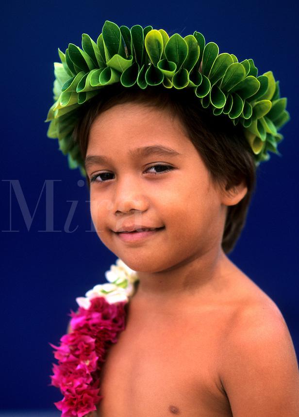 Young boy dancer, Tahiti, French Polynesia, South Pacific Rim