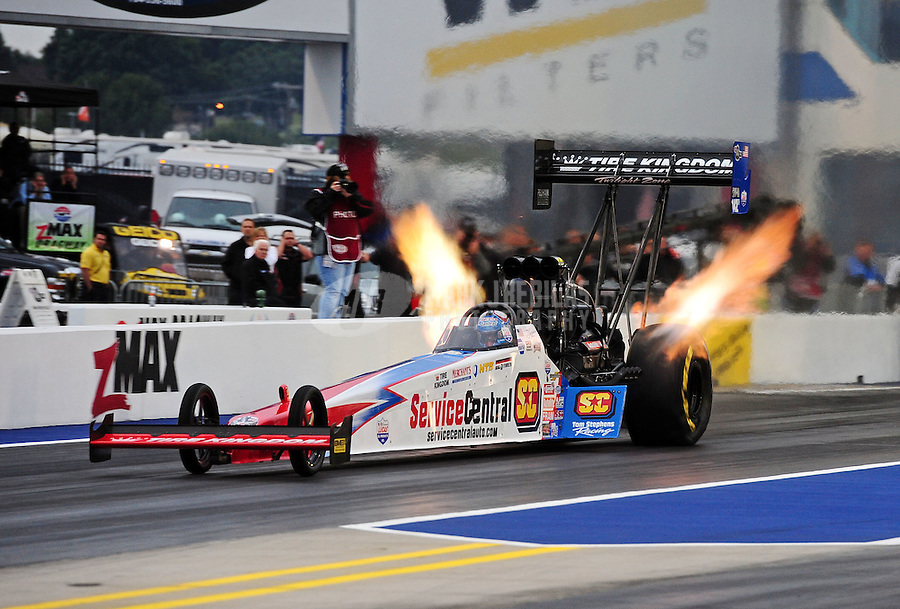 Sept. 16, 2011; Concord, NC, USA: NHRA top fuel dragster driver Dom Lagana during qualifying for the O'Reilly Auto Parts Nationals at zMax Dragway. Mandatory Credit: Mark J. Rebilas-US PRESSWIRE