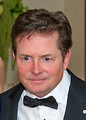 Actor Michael J. Fox arrives for the State Dinner in honor of Prime Minister Trudeau and Mrs. Sophie Gr&eacute;goire Trudeau of Canada at the White House in Washington, DC on Thursday, March 10, 2016.<br /> Credit: Ron Sachs / Pool via CNP