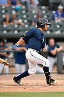 Right fielder Arnaldo Berrios (3) of the Columbia Fireflies bats in a game against the Charleston RiverDogs on Monday, August 7, 2017, at Spirit Communications Park in Columbia, South Carolina. Columbia won, 6-4. (Tom Priddy/Four Seam Images)