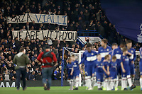 30th October 2019; Stamford Bridge, London, England; English Football League Cup, Carabao Cup, Chelsea Football Club versus Manchester United; Chelsea fans hold up a banner in support of Vialli - Strictly Editorial Use Only. No use with unauthorized audio, video, data, fixture lists, club/league logos or 'live' services. Online in-match use limited to 120 images, no video emulation. No use in betting, games or single club/league/player publications