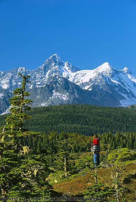 Hiking the shores along Port Wells, Chugach mountains, Prince William Sound, Alaska