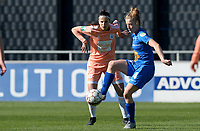 20190324 - OOSTAKKER , BELGIUM : Anderlecht's Laura De Neve (left) pictured watching Gent's Elana Dhont (r)  during the quarter final of Belgian cup 2019 , a womensoccer game between KAA Gent Ladies and RSC Anderlecht , at the PGB stadion in Oostakker , sunday 24 th March 2019 . PHOTO SPORTPIX.BE | DAVID CATRY
