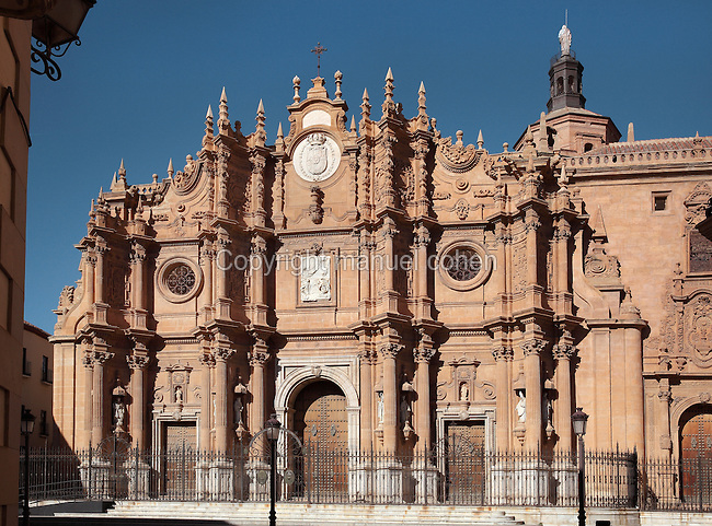 Main facade of Guadix Cathedral, or the Catedral de la Encarnacion de Guadix, designed by Gaspar Cayon de la Vega in the 18th century, with the upper part sculpted by Fernandez Pachote and Domingo Thomas, and the marble Incarnation by Antonio Valeriano Moyano, Guadix, Andalusia, Southern Spain. The cathedral was built 16th - 18th centuries in Baroque style, by architects including Diego Siloe. Picture by Manuel Cohen