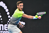 10th January 2018, Sydney Olympic Park Tennis Centre, Sydney, Australia; Sydney International Tennis, round 2; Damir Dzumhur (BIH) concentrates on his back hand return in his match against Alex De Minaur (AUS)