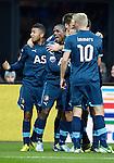Nederland, Alkmaar, 25 november  2012.Eredivisie.Seizoen 2012-2013.AZ-Feyenoord.Ruben Schaken en Tonny Vilhena van Feyenoord juicht na het scoren van de 0-2