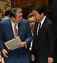 February 3, 2012, Tokyo, Japan - Japan's Prime Minister Yoshiho Noda, right, and Defense Minister Naoki Tanaka exchange words before the start of a Diet lower house Budget Committee meeting in Tokyo on Friday, February 3, 2012. Both Noda and Tanaka were caught in a crossfire from the opposition camp when a senior Defense Ministry official has come under fire for encouraging his subordinates to vote in the upcoming mayoral election in Ginowan, Okinawa Prefecture, which hosts the U.S. Marine Corps' Air Station in Futennma. (Photo by Natsuki Sakai/AFLO) AYF -mis-