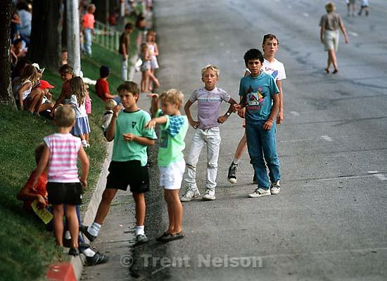 Kids watching parade<br />