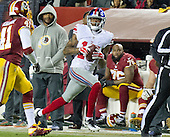 New York Giants wide receiver Tavarres King (15) catches a long pass from quarterback Eli Manning (10) in the fourth quarter against the Washington Redskins at FedEx Field in Landover, Maryland on Sunday, January 1, 2017.  The pass put the Giants in position to kick the game-winning field goal.  The Giants won the game 19 - 10. Washington Redskins free safety Will Blackmon (41) is in pursuit.<br /> Credit: Ron Sachs / CNP<br /> (RESTRICTION: NO New York or New Jersey Newspapers or newspapers within a 75 mile radius of New York City)
