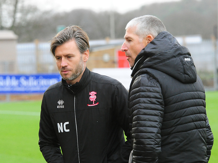 Lincoln City's assistant manager Nicky Cowley and Lincoln City Football Consultant Jez George during the pre-match warm-up<br /> <br /> Photographer Andrew Vaughan/CameraSport<br /> <br /> The EFL Sky Bet League Two - Stevenage v Lincoln City - Saturday 8th December 2018 - The Lamex Stadium - Stevenage<br /> <br /> World Copyright © 2018 CameraSport. All rights reserved. 43 Linden Ave. Countesthorpe. Leicester. England. LE8 5PG - Tel: +44 (0) 116 277 4147 - admin@camerasport.com - www.camerasport.com