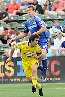 Guillermo Barros Scheloto,Jimmy Conrad #12...Kansas City Wizards were defeated 1-0 by Columbus Crew at Community America Ballpark, Kansas City, Kansas.