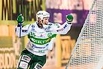 Stockholm 2014-03-05 Bandy SM-semifinal 3 Hammarby IF - V&auml;ster&aring;s SK :  <br /> V&auml;ster&aring;s Oscar Gr&ouml;hn har gjort 2-1 i den f&ouml;rsta halvleken och jublar<br /> (Foto: Kenta J&ouml;nsson) Nyckelord:  VSK Bajen HIF jubel gl&auml;dje lycka glad happy