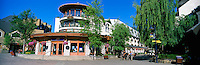 Mountain Square in Whistler Village, Whistler Ski Resort, BC, British Columbia, Canada, Summer - Panoramic View