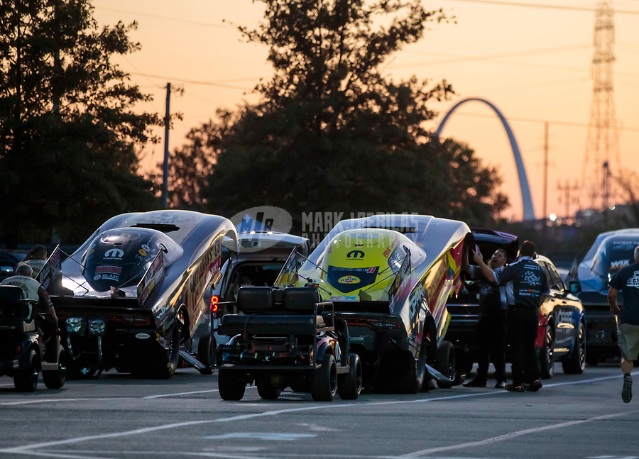 Sep 27, 2019; Madison, IL, USA; NHRA funny car driver Matt Hagan (right) alongside Jim Campbell during qualifying for the Midwest Nationals at World Wide Technology Raceway. Mandatory Credit: Mark J. Rebilas-USA TODAY Sports