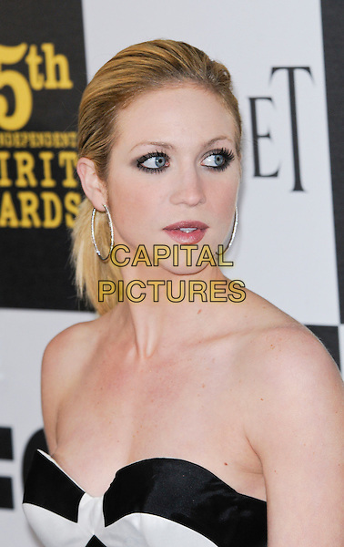 BRITTANY SNOW.The 25th Annual Film Independent Spirit Awards at the LA Live Event Deck in Los Angeles, California, USA..March 5th, 2010  .headshot portrait hair up make-up hoop earrings smiling beauty.CAP/ROT.©Lee Roth/Capital Pictures