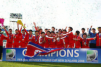 Jubilent Korean Team. USA v Korea Republic. FIFA U-17 Women's World Cup Final. North Harbour Stadium, Auckland, Sunday 16 October 2008. Photo: Simon Watts/PHOTOSPORT