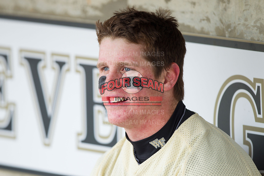 Conor Keniry (14) of the Wake Forest Demon Deacons is all smiles prior to the game against the Marshall Thundering Herd at Wake Forest Baseball Park on February 17, 2014 in Winston-Salem, North Carolina.  The Demon Deacons defeated the Thundering Herd 4-3.  (Brian Westerholt/Four Seam Images)