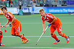 The Hague, Netherlands, June 06: Players of The Netherlands keep their eyes on the ball at a short corner during the field hockey group match (Men - Group B) between Germany and The Netherlands on June 6, 2014 during the World Cup 2014 at Kyocera Stadium in The Hague, Netherlands. Final score 0-1 (0-1) (Photo by Dirk Markgraf / www.265-images.com) *** Local caption *** Wouter Jolie #7 of The Netherlands, Mink van der Weerden #30 of The Netherlands