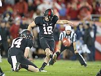 Stanford, Ca - Friday, November 30, 2012: Stanford vs UCLA in the Pac 12 Championships at Stanford University. Jordan Williamson kicks a field goal.