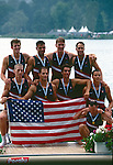 Rowing, FISA Rowing World Championships, Lac Aiguebelette,  France, Europe, United States men's eight winning gold at the finish, 1997, medals ceremony, gold medals, American flag,