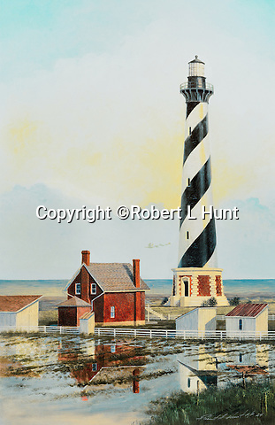 "Lighthouse at Cape Hatteras, North Carolina, guarding the Graveyard of the Atlantic Ocean, circa 1910. Available as a 22.5"" x 14.5"" fine art limited edition lithograph with Certificate of Authenticity."