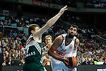 Basketball Real Madrid´s Bourousis (R) during Euroleague basketball match in Madrid, Spain. October 17, 2014. (ALTERPHOTOS/Victor Blanco)