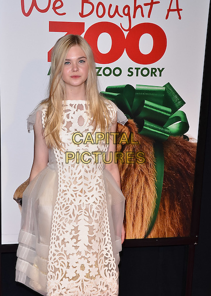 "Elle Fanning.""We Bought A Zoo"" New York Premiere, New York City, NY, USA..December 12th, 2011.half 3/4 length dress tulle white lace sheer print .CAP/ADM/CS.©Christopher Smith/AdMedia/Capital Pictures."