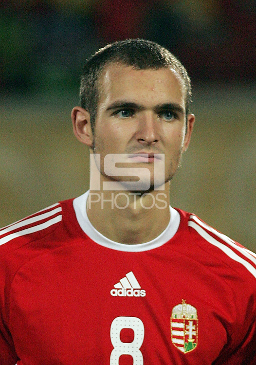 Hungary's Andras Simon (8) stands on the field before the match against Italy during the FIFA Under 20 World Cup Quarter-final match at the Mubarak Stadium  in Suez, Egypt, on October 09, 2009. Hungary won 2-3 in overtime.