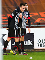 Pars' Lawrence Shankland (left) celebrates with Faissal El Bakhtaoui after he scores their third goal.
