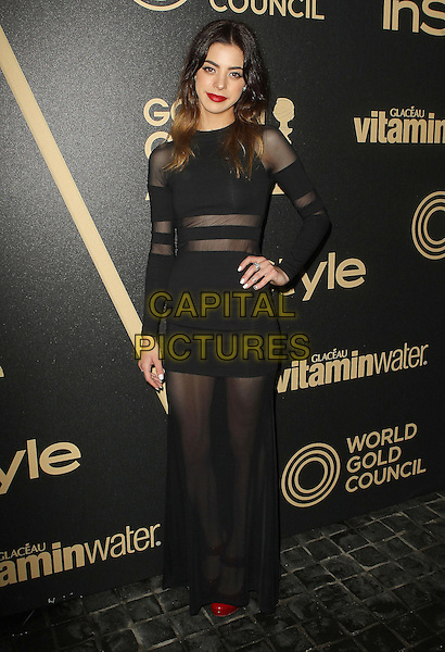 Gia Mantegna.The Hollywood Foreign Press Association And InStyle Miss Golden Globe 2013 Party held at Cecconi's Restaurant, West Hollywood, California, USA, 29th November 2012..full length sheer black long sleeve dress maxi hand on hip see thru through .CAP/ADM/KB.©Kevan Brooks/AdMedia/Capital Pictures.