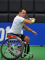 December 189 2014, Rotterdam, Topsport Centrum, Lotto NK Tennis, Wheelchair men's semifinal,  Tom Egberink (NED)<br /> Photo: Tennisimages/Henk Koster