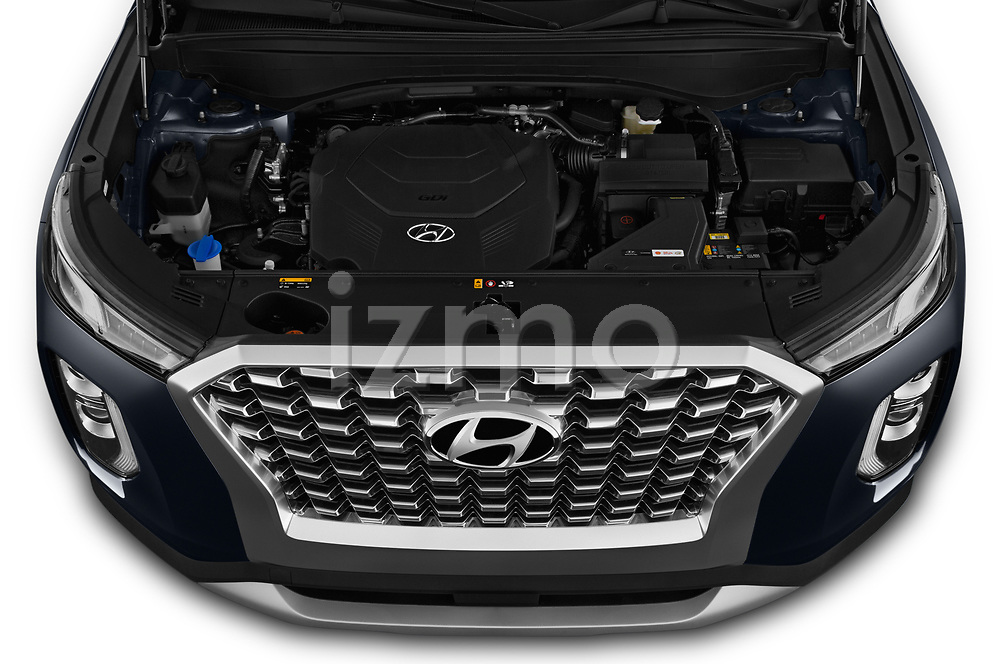 Car stock 2020 Hyundai Palisade SEL 5 Door SUV engine high angle detail view