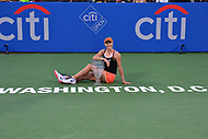 Washington, DC - August 6, 2017: Ekaterina Makarova poses with her trophy after winning the Citi Open women's championship at the Rock Creek Tennis Center in Washington, D.C., August 6, 2017.  Makarova beat Julla Goerges during the finals match. (Photo by Don Baxter/Media Images International)