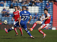 Fleetwood Town's Joe Maguire passes across Oldham Athletic's Ryan McLaughlin<br /> <br /> Photographer Stephen White/CameraSport<br /> <br /> The EFL Sky Bet League One - Oldham Athletic v Fleetwood Town - Saturday 8th April 2017 - SportsDirect.com Park - Oldham<br /> <br /> World Copyright &copy; 2017 CameraSport. All rights reserved. 43 Linden Ave. Countesthorpe. Leicester. England. LE8 5PG - Tel: +44 (0) 116 277 4147 - admin@camerasport.com - www.camerasport.com