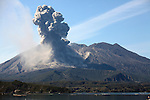 Eruption of Sakurajima Volcano with ash cloud, Kagoshima, Japan.