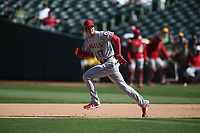 OAKLAND, CA - SEPTEMBER 20:  Shohei Ohtani #17 of the Los Angeles Angels of Anaheim runs the bases against the Oakland Athletics during the game at the Oakland Coliseum on Thursday, September 20, 2018 in Oakland, California. (Photo by Brad Mangin)