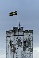 A St David's flag flies on top of St Peter's Church in Carmarthen, Wales, UK. Thursday 04 January 2018