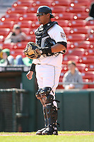 May 5th 2008:  Catcher Yamid Haad of the Buffalo Bisons, Class-AAA affiliate of the Cleveland Indians, during a game at Dunn Tire Park in Buffalo, NY.  Photo by Mike Janes/Four Seam Images