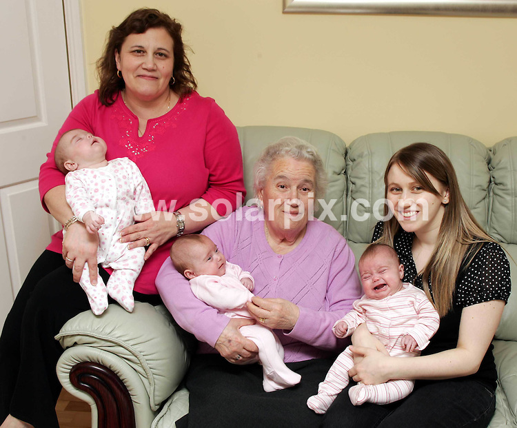 **ALL ROUND EXCLUSIVE PICTURES FROM SOLARPIX.COM**.**NO NEWSPAPER SYNDICATION**.**WORLDWIDE SYNDICATION**.200 million -1 identical triplets Olivia  (flower suit) , Gabriella (Plain Pink Suit) and Alessia (Striped suit).Mum and dad Carmela Testa and Richard Rees from Peterborough.4 generations  Carmela, her mum Gemma Testa( Grandmother) and her mum  Veva Piscopo (Gt Grandmother) in the UK...JOB REF: 6276         CSH        DATE:25.04.08.**MUST CREDIT  ALBANPIX / SOLARPIX.COM OR DOUBLE FEE WILL BE CHARGED* *UNDER NO CIRCUMSTANCES IS THIS IMAGE TO BE REPRODUCED FOR ANY ONLINE EDITION WITHOUT PRIOR PERMISSION*