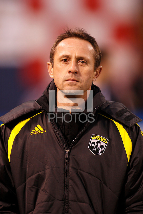 Columbus Crew assistant coach Robert Warzycha. The New York Red Bulls defeated the Columbus Crew 2-0 during a Major League Soccer match at Giants Stadium in East Rutherford, NJ, on April 5, 2008.
