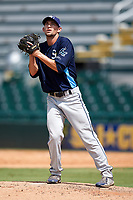 Charlotte Stone Crabs relief pitcher Trevor Charpie (37) gets ready to deliver a pitch during a game against the Bradenton Marauders on June 3, 2018 at LECOM Park in Bradenton, Florida.  Charlotte defeated Bradenton 10-1.  (Mike Janes/Four Seam Images)