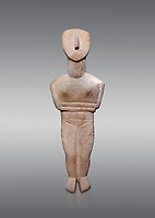 Female figurine statuette : Cycladic Canonical type, Spedos variety f. Early Cycladic Period II, (2800-2300 BC), ' Museum of Cycladic Art Athens, cat no 207. Against Grey Background.