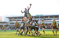 Ed Slater of Leicester Tigers rises high to win lineout ball. Aviva Premiership match, between Northampton Saints and Leicester Tigers on April 16, 2016 at Franklin's Gardens in Northampton, England. Photo by: Patrick Khachfe / JMP
