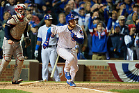 Chicago Cubs Ben Zobrist (18) runs to first base after hitting a single in the fourth inning during Game 5 of the Major League Baseball World Series against the Cleveland Indians on October 30, 2016 at Wrigley Field in Chicago, Illinois.  (Mike Janes/Four Seam Images)