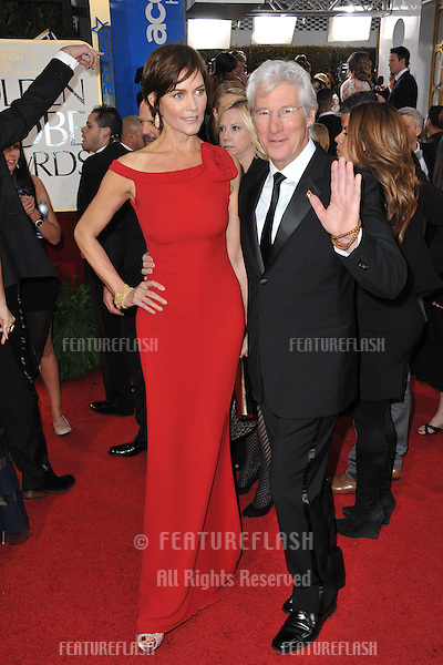Richard Gere & Carey Lowell  at the 70th Golden Globe Awards at the Beverly Hilton Hotel..January 13, 2013  Beverly Hills, CA.Picture: Paul Smith / Featureflash