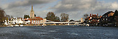 Marlow and Marlow Bridge from the River Thames on the upstream side, Buckinghamshire, Uk