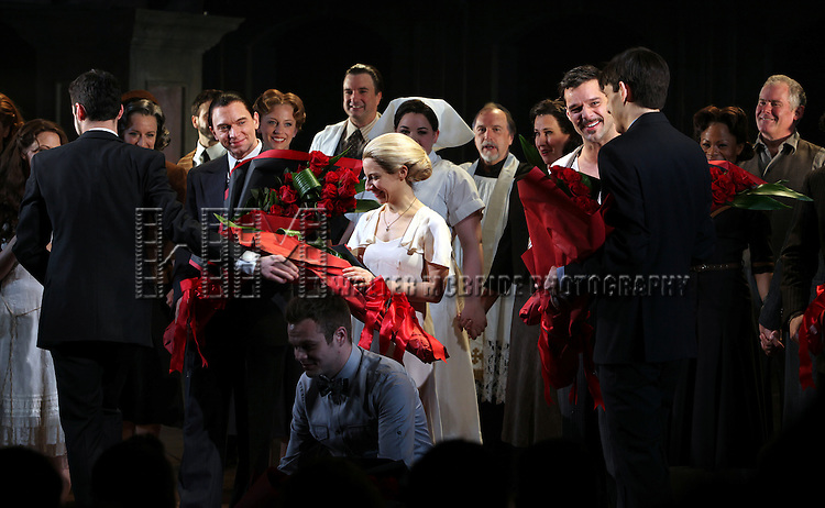 Michael Cerveris, Elena Roger & Ricky Martin with the Company.during the Broadway Opening Night Performance Curtain Call for 'EVITA' at the Marquis Theatre in New York City on 4/5/2012