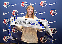 #36 overall pick Maegan Kelly of FC Kansas City poses during the NWSL draft at the Pennsylvania Convention Center in Philadelphia, PA, on January 17, 2014.